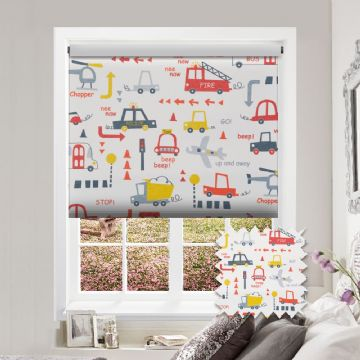 Cars Patterned Premium Blackout Roller Blind in Nee Naw
